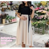 191263 Maternity Woman Pregnant Short sleeve Shirt + Jumpsuit Dress Black + Beige