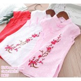 200113 Little Girl Embroidery Cheongsam Dress White/Pink/Red