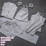 200130 7 Pcs Pyjamas Set Long Sleeve + Long Pants + Sling Shirt + Headband + Hair Ring + Storage Bag Grey/Green/Pink/Red