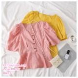 191267 Fashion Woman V-Neck Button Short Sleeve Blouse Pink/Black/Yellow/White