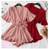 191268 Woman V-Neck High Waist Ribbon Playsuit Black/Yellow/Khaki/Pink/Wine Red