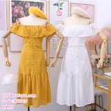 191269 Off shoulder Embroidery Button Slim Fit Midi Dress Yellow/Blue/Pink/White