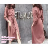 191226 French Style Elegant Office Ladies Long Sleeve Midi Dress Bean