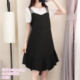 200161 Korean Style Sling Midi Dress Black