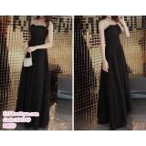 200149 Elegant Off Shoulder Dinner Maxi Dress Black