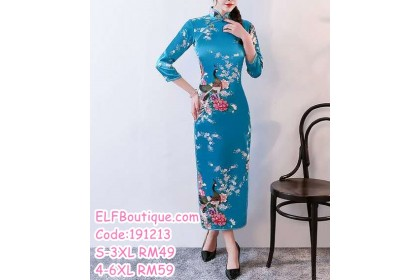 191213 Long Sleeve Traditional Cheongsam Plus Size to 6XL White/Red/Purple/Black/Pink/Lake Blue/Blue/Rose Red