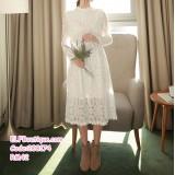 200174 Korean Lacey Slim Fit Midi Dress White