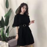 191208 Korean Style Loose T-Shirt Dress Slim Midi Dress White/Black