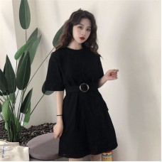 191208 Korean Style Loose T-Shirt Dress Slim Midi Dress White/Black