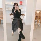 200165 Office Ladies Long Sleeves Midi Dress Black/Apricot