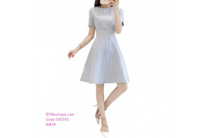 200193 Korean Style Loose Slim Waist Stripe Midi Dress