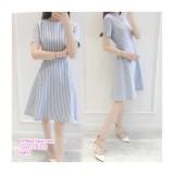 200193 Korean Style Loose Slim Waist Stripe Midi Dress