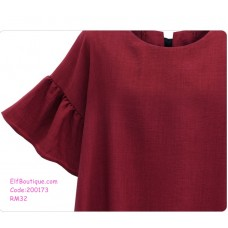 200173 European Short Sleeves Ribbon Plus Size Tops Red XL to 5XL