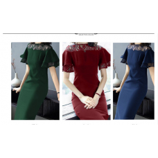 200187 Europe Style Elegant Fish Tail Lacey A-Line Midi Dress Wine Red/Green/Navy
