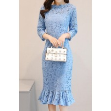 200154 Fish Tail Lacey Long Sleeve Midi Dress White/Black/Blue
