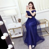 200157 Navy Off Shoulder Evening Gown