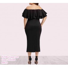 200188 European Bodycon Off Shoulder Plus Size Long Dress Gown Navy Wine Red Black
