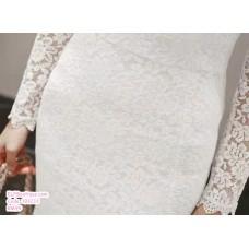 191233 Elegant Lacey Fish Tail Dress Long Sleeve Slim Midi Dress Black/White