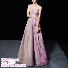 191130 Elegant Shinning Starry Sling Open Back Dinner Dress Pink/Purple/Silver/Blue