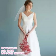 200153 Elegant Bride Pre Wedding Travel Photography ROM White Dress Gown Premium Custom Made