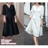 200179 Premium French Design Dinner Midi Dress White/Black