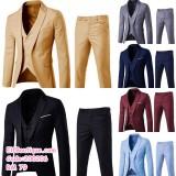 200206 Men 3pcs set with blazer pants and vest S to 6XL Khaki / grey/ black/ wine red/ navy blue/ light blue