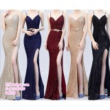 200209 Women Sexy Sleeveless Blink Blink Dinner Gown Black/Champaign/Red/Dark Blue/Apricot Silver
