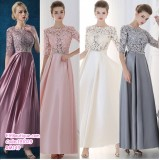 191029  Woman Middle Sleeve Round Neck Lacey Dinner Gown Bean Pink Champagne Grey
