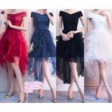 200203 Woman Elegant Off Shoulder Evening Gown Red/Blue/Black /Red