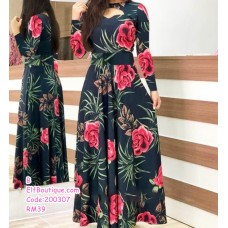 200307 Woman Sexy Western Style Printed Floral Dress