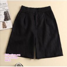 200308 Korean High Waisted Cotton Linen Leisure Short M-4XL Brown/Khaki/White/Black