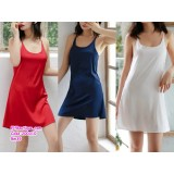 200310 Women Silk Sleeveless Sexy Sling Backless Pajamas White/Navy/Wine Red/Green /Skin Pink