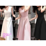 200311 Woman Elegant Slim Fit Sleeveless Evening Dress White/Green/Wine Red/Black/Pink