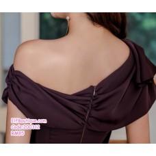 200312 Korean Woman Elegant Slim Fit Off Shoulder Dress