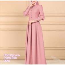 200313 Woman Elegant Round Neck Long Puff-Sleeve High Waisted Long DressPink/Wine Red/Blue/Purple