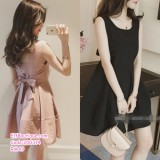 200314 Woman Sexy Korean Chic Doll Skirt Backless Bow Ribbon Dress Pink/Black