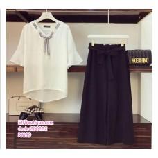 200222 Student Style Woman Wear 2Pcs Set Trumput Sleeve Top With Wide Leg Pants Black/Khaki
