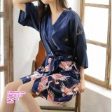 191127 Woman Half Sleeve Silk Pyjamas Crane Bathrobe White/Red/Grey/Black/Navy/Royal Blue/Lake Blue/Sunset Red
