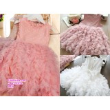 200232 Sweet Cute Little Girl Ruffle Princess Dress Pink/White/Pinkish