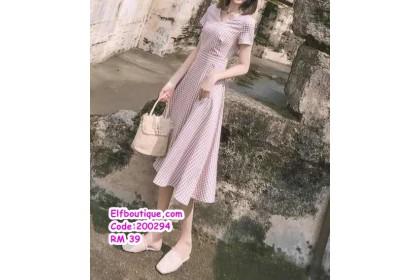 200294 Woman Simple Casual Midi Dress Pink