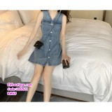 200521 Woman Korean Denim Sleeveless Dress