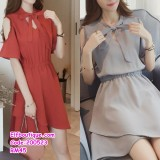 200523 Woman Ribbon Tie Collar Elastic Waist Dress