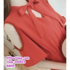 200523 Woman Ribbon Tie Collar Elastic Waist Dress