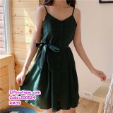 200524 Woman Sexy Sleeveless Ribbon Tie Dress M-2XL