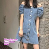 200601 Woman Sexy Sleeveless Denim Button Dress