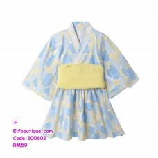 200602 Little Girl Japanese Kimono Printed Flower Dress