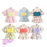 200602 Little Girl Japanese Kimono Printed Flower Dress