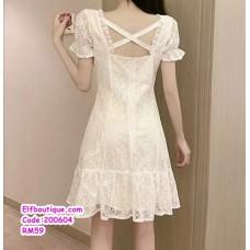 200604 Woman Lacey Short Slevee Midi Dress