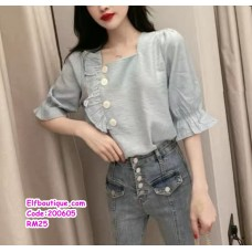 200605 Woman Korean Short Sleeve Slim Fit Top