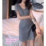 200427 Woman Short Sleeve V-Neck Office Ladies Dress